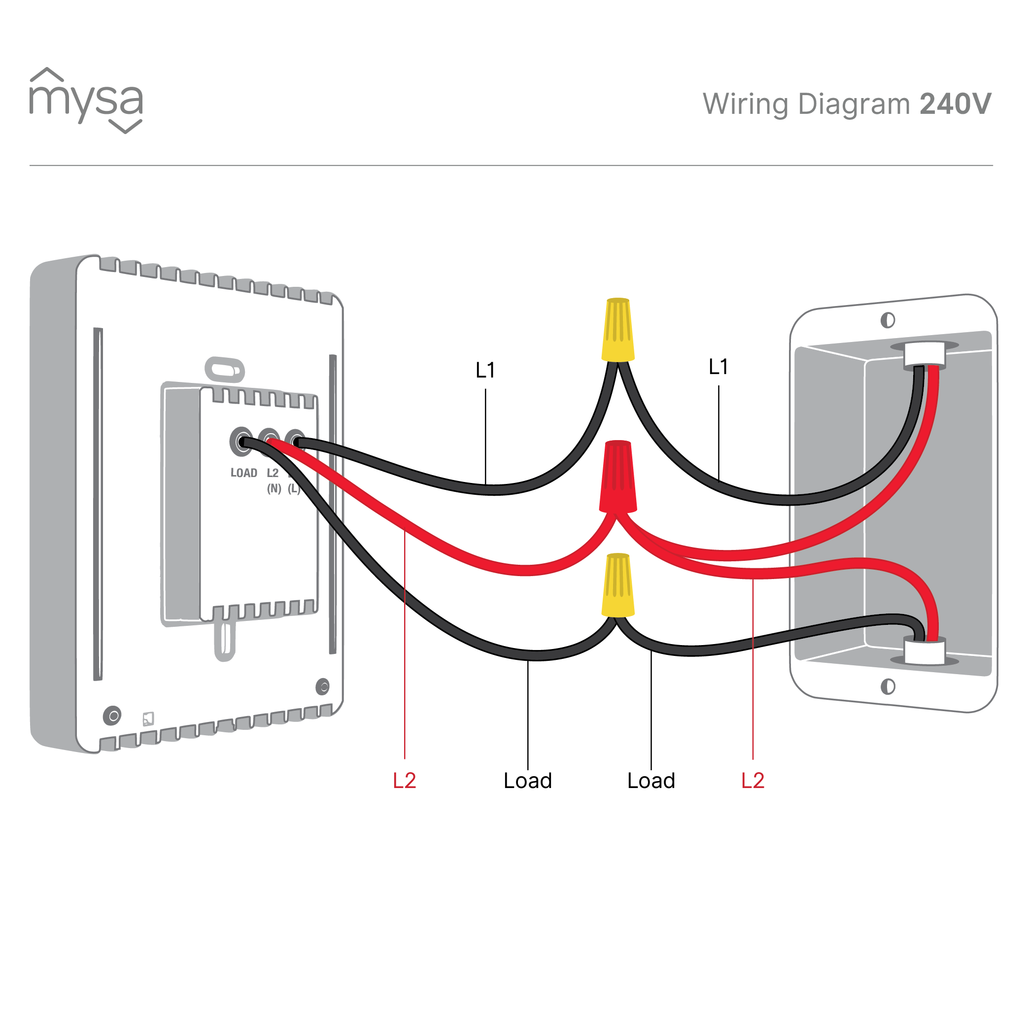 How do I install Mysa with 240 V Installations? – Mysa Support Wiring Load on